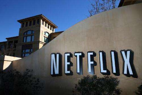 A sign is posted in front of the Netflix headquarters on January 22, 2014 in Los Gatos, California