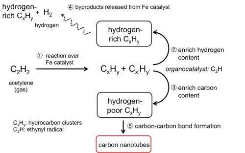 Carbon nanotubes grow in combustion flames