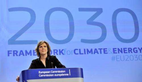 EU commissioner for Climate Action Connie Hedegaard gives a  press conference on January 22, 2014 in Brussels