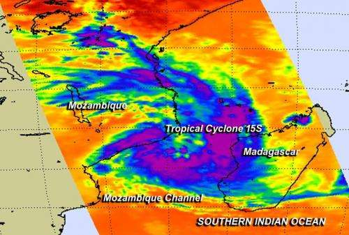 NASA sees Tropical Cyclone 15S form in the Mozambique Channel