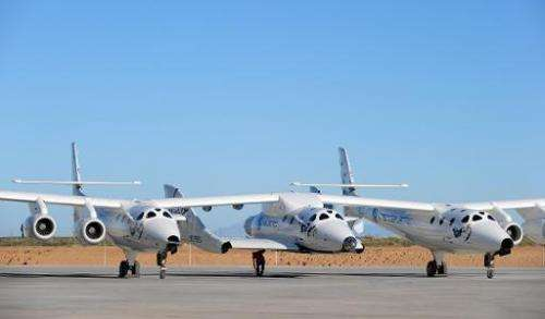 A file picture shows the WhiteKnightTwo, which carries Richard Branson's SpaceShipTwo into high altitude, prior to a flight at S