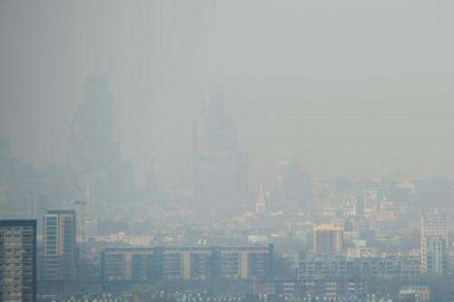 Air pollution hangs in the air lowering visibility in London, on April 2, 2014