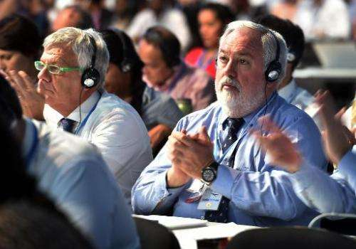 EU Commissioner for Energy and Climate Action Miguel Arias Canete, applauds during the seventh plenary meeting of the COP20 on D