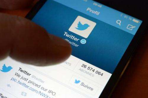 File picture shows an official Twitter account on a smartphone