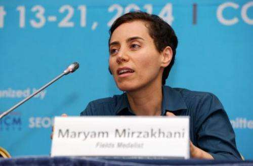 This handout photo taken and released on August 13, 2014 by the Seoul ICM 2014 shows Maryam Mirzakhani after the awards ceremony