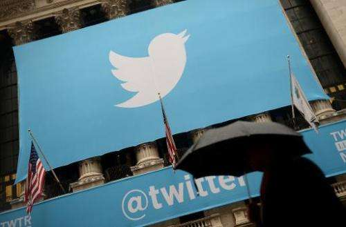 A banner with the logo of Twitter is set on the front of the New York Stock Exchange on November 7, 2013 in New York