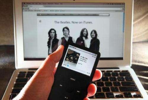 A Beatles song plays on an iPod in San Anselmo, California on November 16, 2010