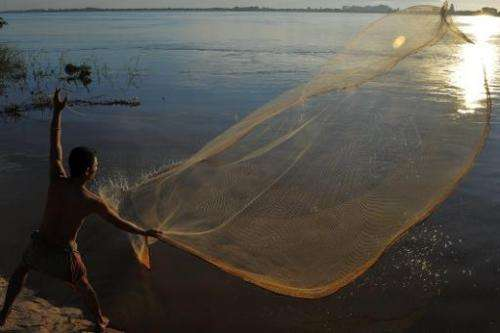 A Cambodian man throws a fishing net in the Mekong river in Phnom Penh on August 21, 2011