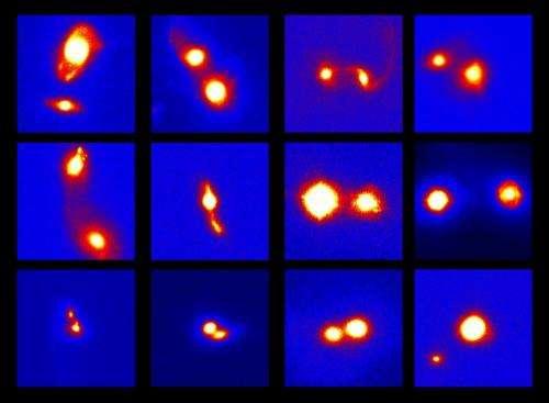 Active supermassive black holes revealed in merging galaxies