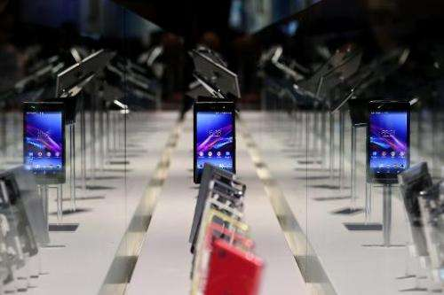 A display of smartphones is seen in Las Vegas, Nevada, on January 7, 2014