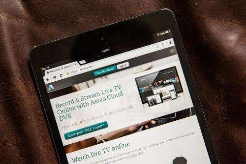 Aereo.com, a web service that provides television shows online, is shown on an iPad Mini, on April 22, 2014 in New York City