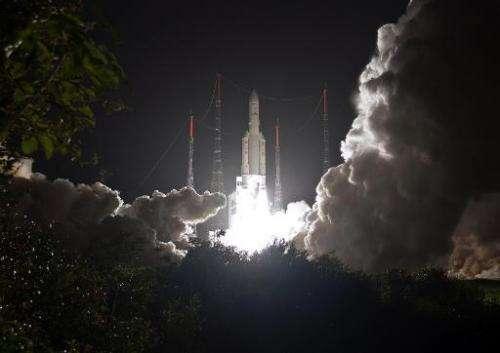 A European Ariane 5 ECA rocket taking off in Toucan, French Guiana, on March 22, 2014