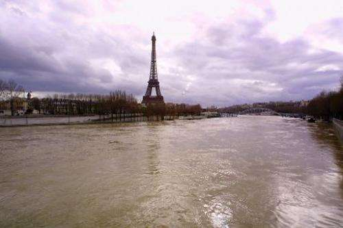 A file photo taken on on March 23, 2001 shows the flooded banks of the river Seine in Paris
