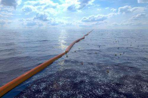 """A handout computer generated image released by the Dutch Organization """"The Ocean Cleanup"""" on July 2, 2014 shows an oce"""