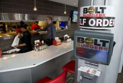 A kiosk for customers to order food and drinks at Bolt Burgers in Washington, DC, February 25, 2014