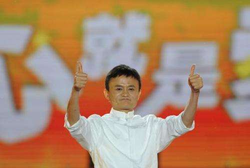Alibaba founder Jack Ma gives a speech in Hangzhou, eastern China's Zhejiang province on May 10, 2013