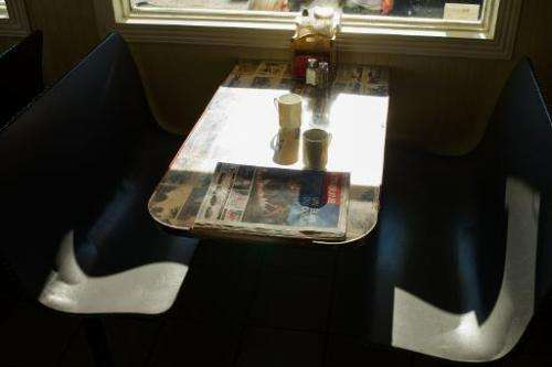 A local newspaper is seen in a diner on July 13, 2013 in Lac-Megantic, Quebec, Canada