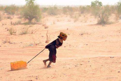 A Malian refugee pulls a jerrican of water at the Mbere refugee camp on May 3, 2012, near Bassiknou, southern Mauritania