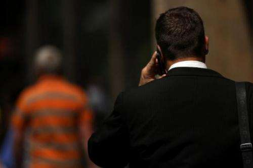 A man speaks on his mobile phone on May 31, 2011 in New York City