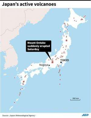 A map showing Japan's active volcanoes