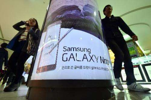 An advert for Samsung Galaxy Note 4 is seen in Seoul, on October 30, 2014