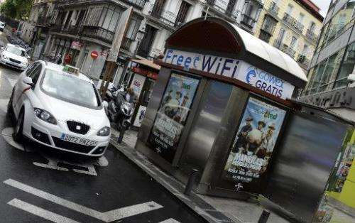 An advertisement for wifi provider Gowex on a news kiosk in Madrid on July 3, 2014