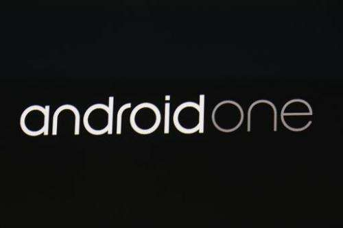 An Android one sign is seen on stage during the Google I/O Developers Conference at Moscone Center on June 25, 2014 in San Franc