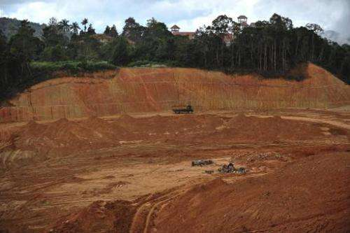 A new development area in Malaysia's Cameron Highlands, pictured on November 19, 2013