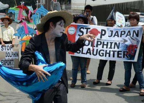 Anti-dolphin slaughter protesters at a rally in front of the Japanese embassy in Manila on September 2, 2013