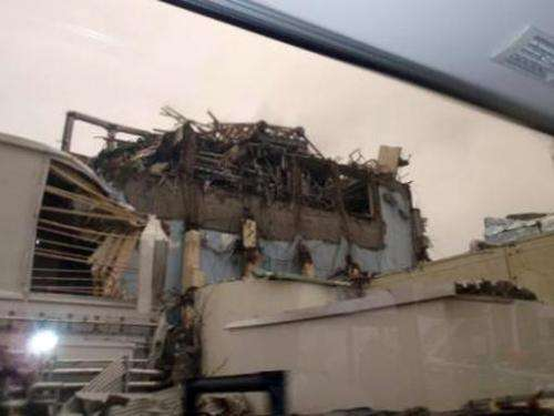A Nuclear and Industrial Safety Agency picture released on April 9, 2011 shows the damaged building housing reactor number four