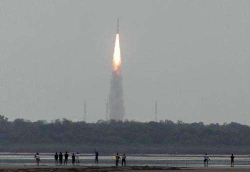 A Polar Satellite Launch Vehicle (PSLV) is launched from the Satish Dhawan Space Centre (SDSC) in the town of Sriharikota, easte