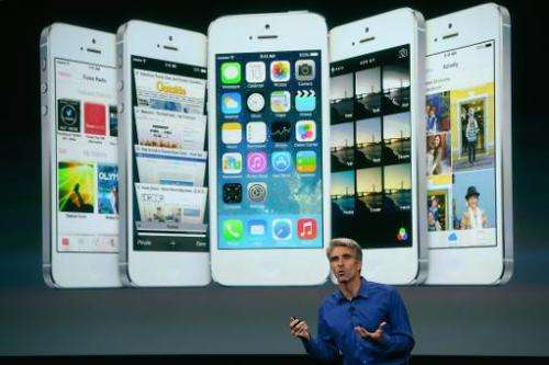 Apple Senior Vice President of Software Engineering Craig Federighi speaks about iOS 7 on September 10, 2013 in Cupertino, Calif
