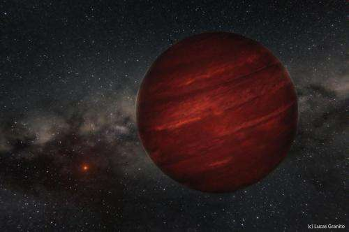Artist's rendition of the planet GU Psc b and its star GU Psc in the distance.
