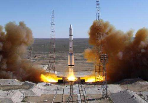 A Russian-built Proton rocket with Russian relay satellite Luch-5V and the Kazakh communication satellite KazSat-3 aboard blasts