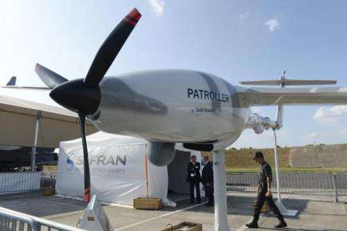 A Safran drone displayed at the UAV (Unmanned aerial vehicle) show in Merignac, France on September 10, 2014