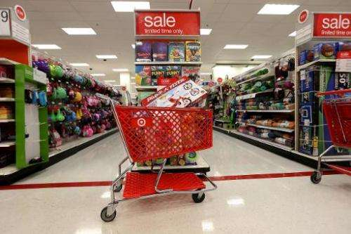 A shopping cart is seen in a Target store on December 19, 2013 in Miami, Florida