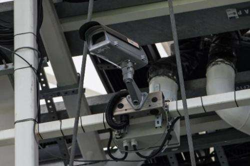 A special camera to be used as part of the goalline technology at the World Cup is pictured at Maracana Stadium in Rio de Janeir