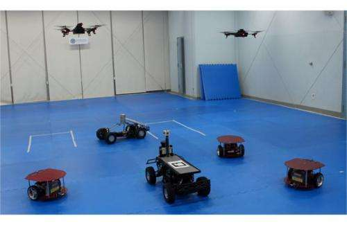 A system to allow air- and ground-based robot vehicles to work together