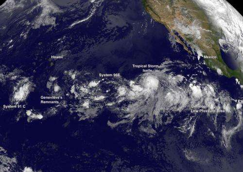 A train of 5 tropical cyclones in the Central and Eastern Pacific