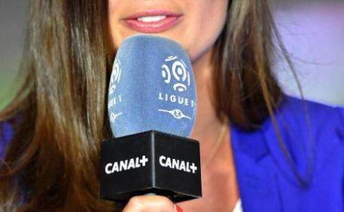 A TV presenter holds a Canal+ channel's microphone on August 8, 2014 in Reims