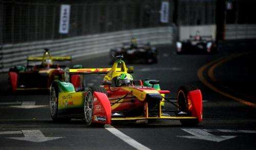 Audi Sport Abt Formula E Team driver Lucas di Grassi of Brazil  takes a turn during the Formula E race at the circuit near the B