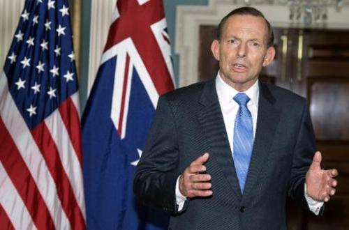 Australian Prime Minister Tony Abbott at the US Department of State in Washington, DC on June 12, 2014
