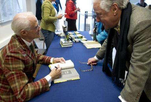 "Author Robin Cook signs copies of his new book ""Cell"" at the Woodrow Wilson Center in Washington, DC on February 19, 2"