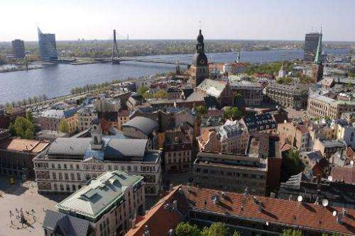 A view of Riga from the top of St. Peters church on May 11, 2006