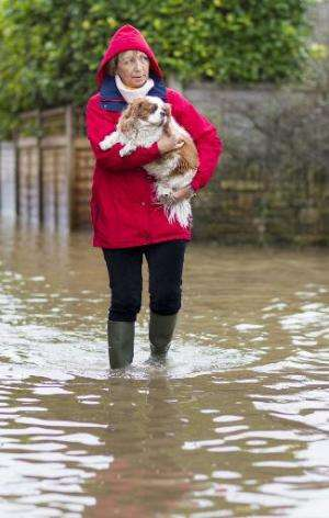 A woman carries her dog as she walks through flooded streets in the village of Moorland in Somerset, south-west England, on Febr