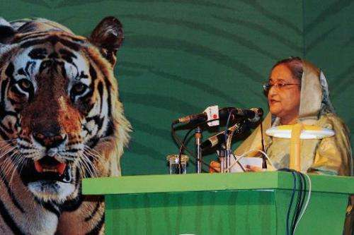 Bangladesh Prime Minister Sheikh Hasina addresses the Global Tiger Recovery Programme (GTRP) in Dhaka, on September 14, 2014