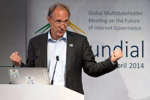 "British computer scientist Tim Berners-Lee, credited with inventing the world wide web, delivers a speech during ""NETmundia"