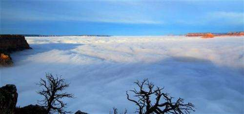 Clouds fill Grand Canyon in rare weather event