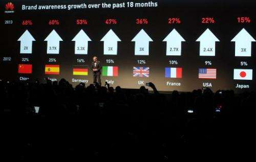 Colin Giles, Executive president of Huawei Consumer Business Group, speaks during a press event at the Mandalay Bay Convention C