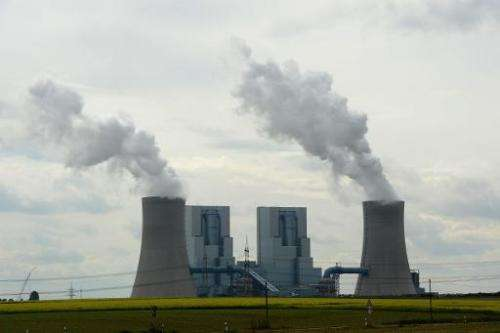 Cooling towers at the Neurath coal-fired power station at Grevenbroich near Aachen, southern Germany on September 11, 2012